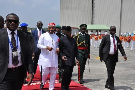 His Excellency, Gov Udom Emmanuel with the VP His Excellency Prof. Yemi Osinbajo  at the airport